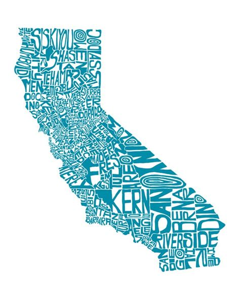 california map drawing california typography map print 8x10 customizable