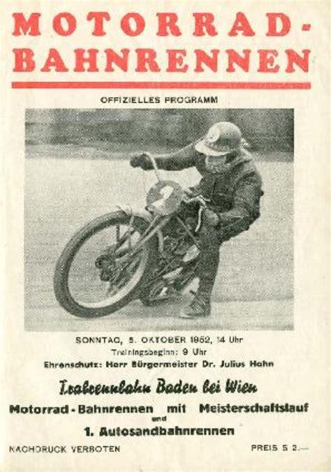 Motorradrennen österreich by Auto Und Motorradrennen Auf Der Trabrennbahn Baden 1952