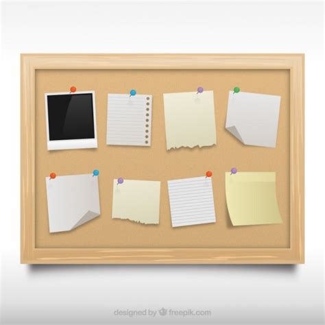 vector board layout cork board with notes vector free download