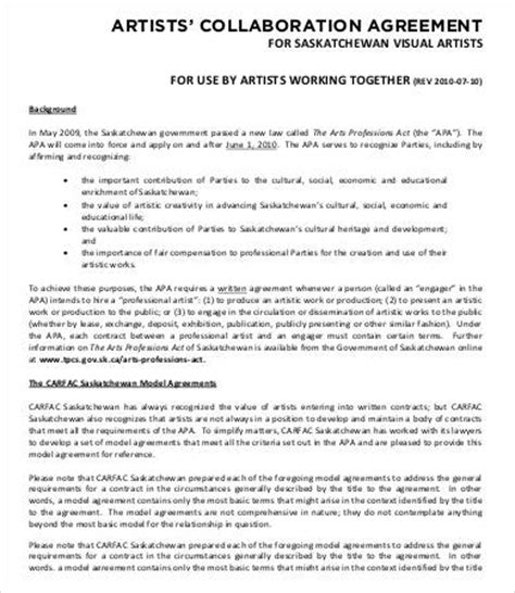 collaboration contract template artist contract template 10 free word pdf documents