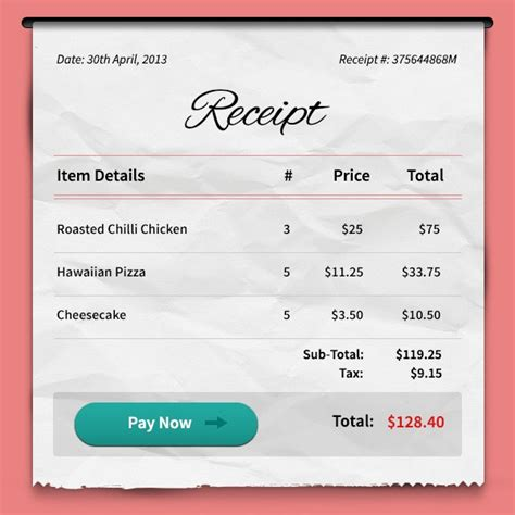 pizza receipt template payment receipt freebies fribly