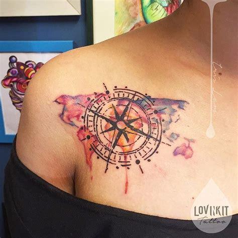 watercolor tattoos ontario ontario map compass watercolor and