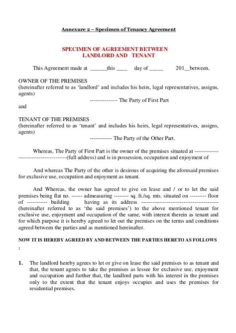 Sle Letter Of Agreement Between Landlord And Tenant Leave And Licenses Agreement Mumbai