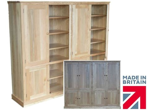 oak kitchen pantry storage cabinet solid oak cupboard 208cm wide 8 door pantry linen