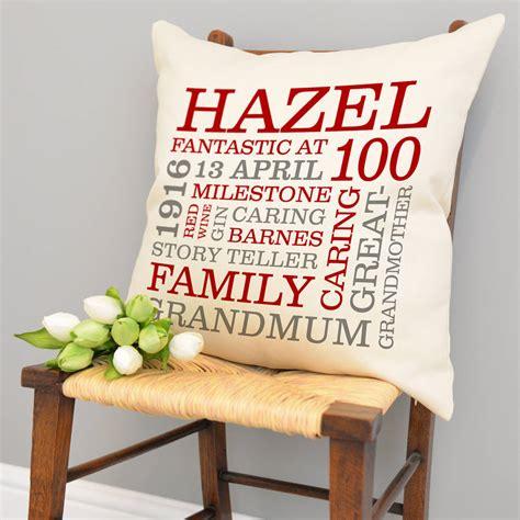 Vincci 100 Original 26 personalised 100th birthday word cushion by a type of