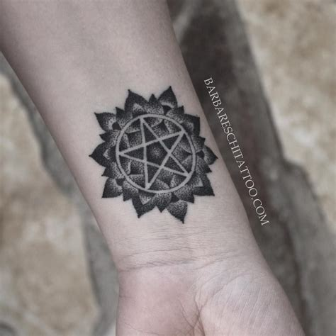 pentacle tattoo handpoked pentagram by enzo barbareschi