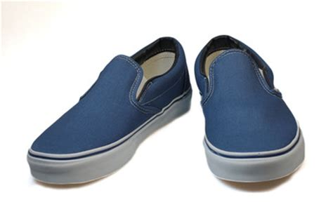 vans classic navy blue white canvas slip on mens womens