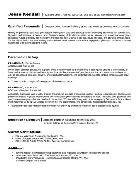 paramedic resume template 10 emt resume cover letter writing resume sle