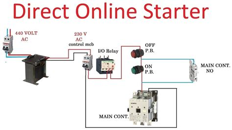 direct starter for 3 phase induction motor wiring