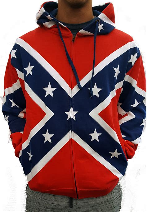 A For Rebel zip up confederate rebel flag all hooded sweatshirt
