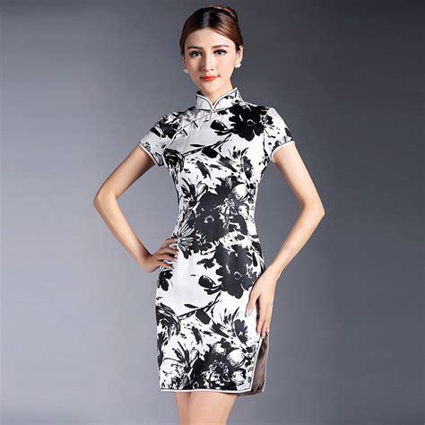 Cheongsam Dress White pretty black and white silk qipao cheongsam dress white