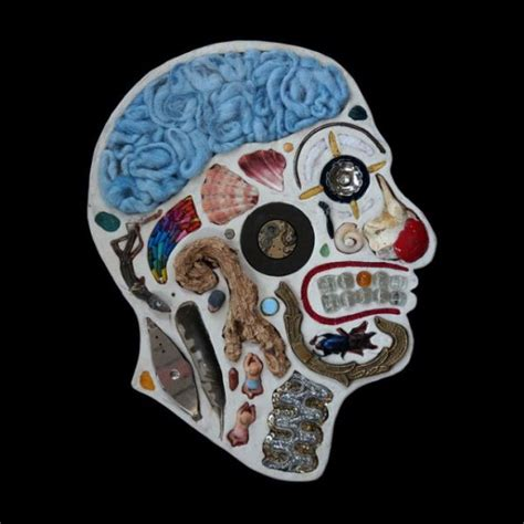 human head cross section human head cross sections made out of found objects