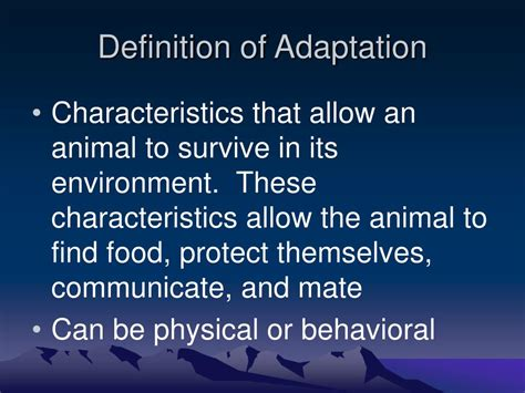 ppt definition of adaptation powerpoint presentation