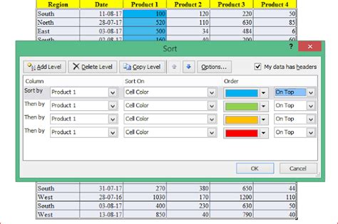 sort excel by color excel sort by column by row by color by your own custom
