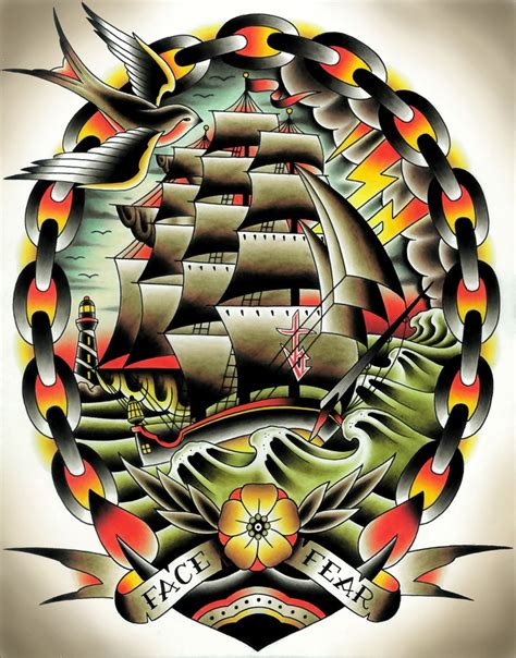 traditional ship tattoo i want a clipper ship