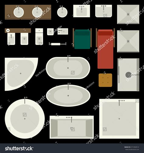 Elements Bathroom Furniture Icons Set Bathroom Furniture Elements Top Stock Vector 571050514