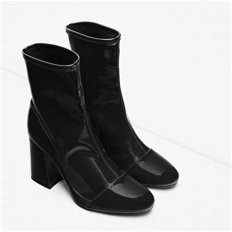 sock boots vogue zara high heel sock style ankle boots in black lyst