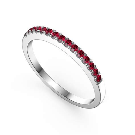 promise ruby platinum plated silver half eternity ring