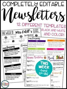 Editable Newsletter Template Teaching Ideas Teaching Resources Pinterest Newsletter Montessori Newsletter Templates