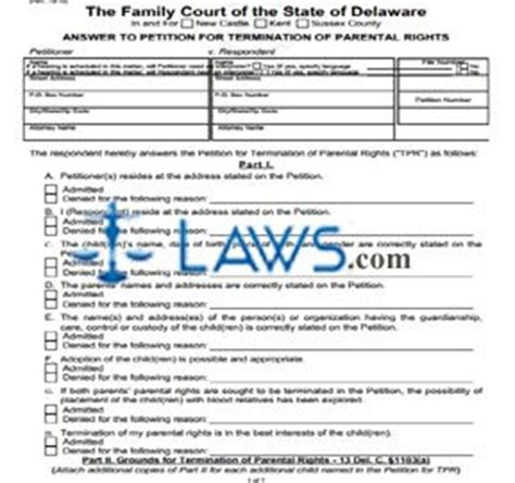 answer to petition for termination of parental rights