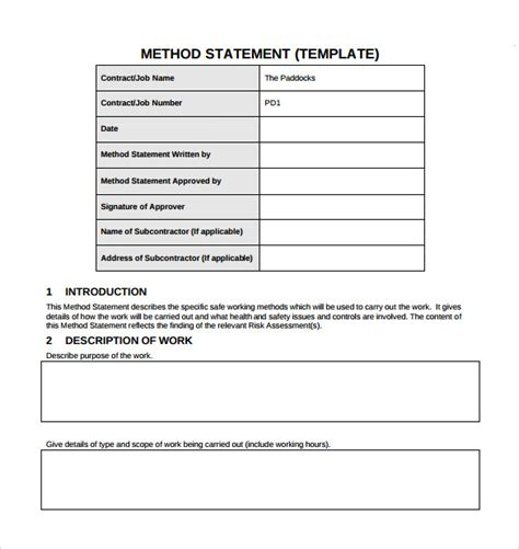 method statement template for construction sle method statement template 8 documents in pdf
