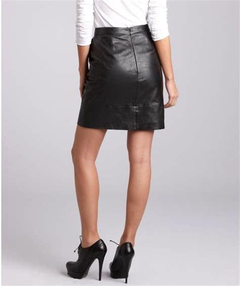 black leather knee length skirt in black lyst
