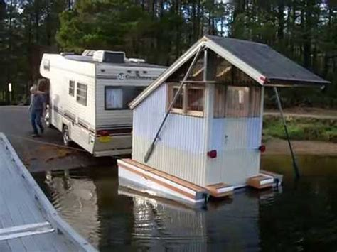 mini houseboat micro mini house boat floating cabin craft first launch