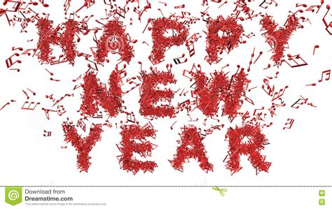 happy new year made from musical notes stock illustration