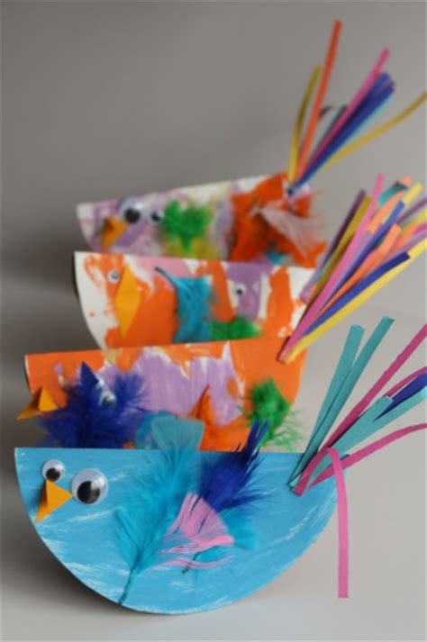 Bird Paper Plate Craft - paper plate birds family crafts