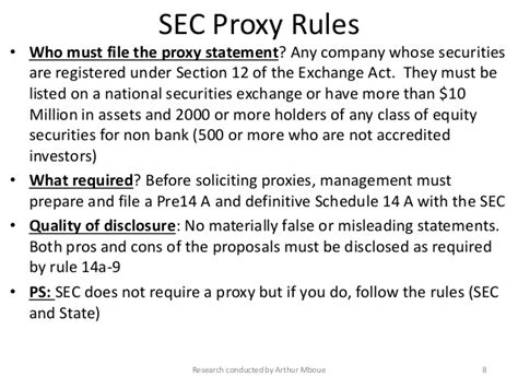 section 8 rules sec compliance and disclosure proxy rules and procedures