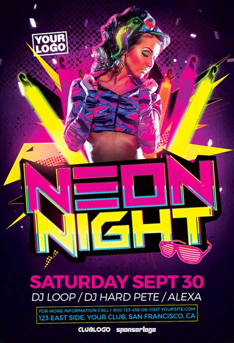 Neon Party Flyer Template For Electro Club Party Events Neon Flyer Template Free