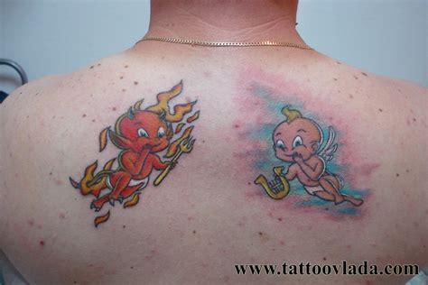 tattoo cartoon angel cartoon devil and angel tattoos www imgkid com the
