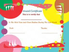 Kid Certificate Templates Free Printable by Free Printable Award Certificates For