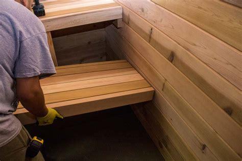 steam room bench sauna installation