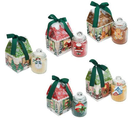 qvc christmas packaging set of 5 cottage candles with giftboxes by valerie page 1 qvc