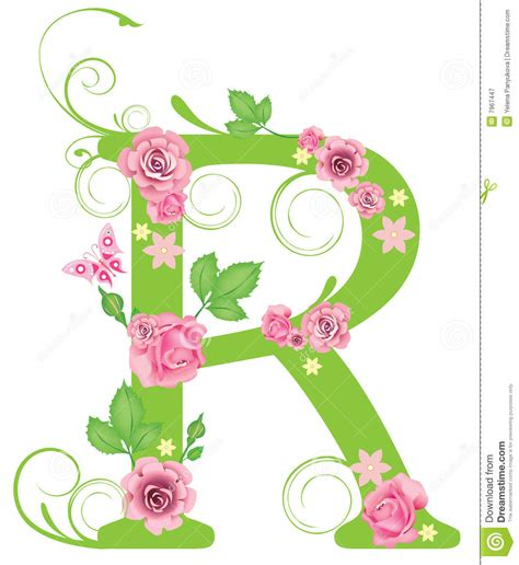 letter r with roses stock vector image of swirl alphabet