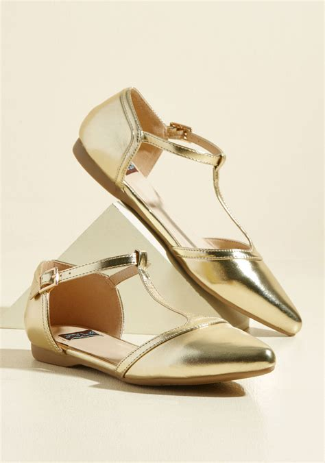 All Dolled Up In Gilded Metallics by Turn Back Prime Vegan Flat In Gilded Mod Retro Vintage