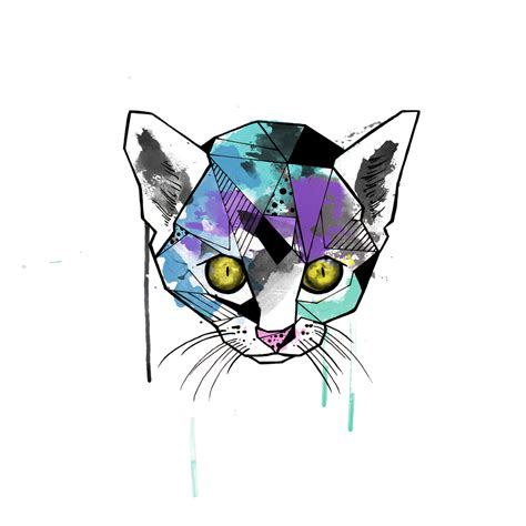 geometric cat head with watercolor effect tattoo design