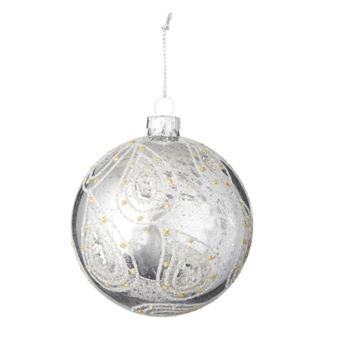 silver paisley design bauble by the christmas home