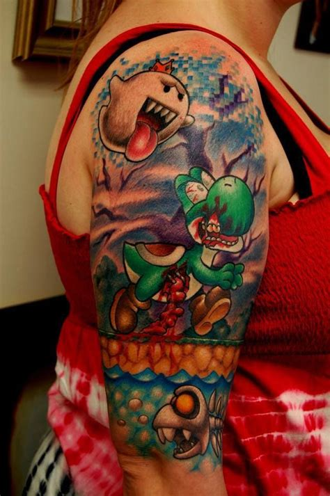 yoshi tattoo yoshi from mario world sleeve www