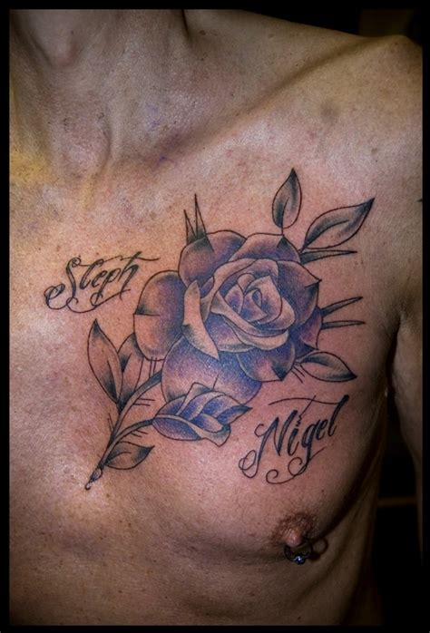 rose chest tattoo flower tippingtattoo