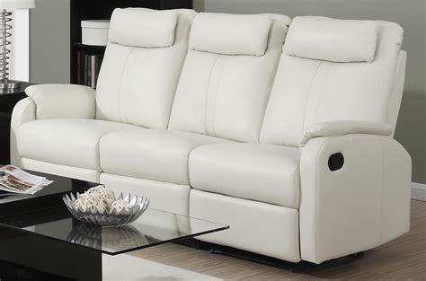 bonded leather reclining sofa 81iv 3 ivory bonded leather reclining sofa from monarch