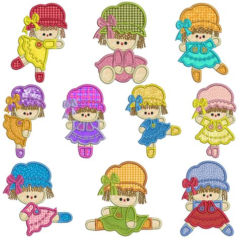 doll embroidery design rag dolls machine applique embroidery patterns 10