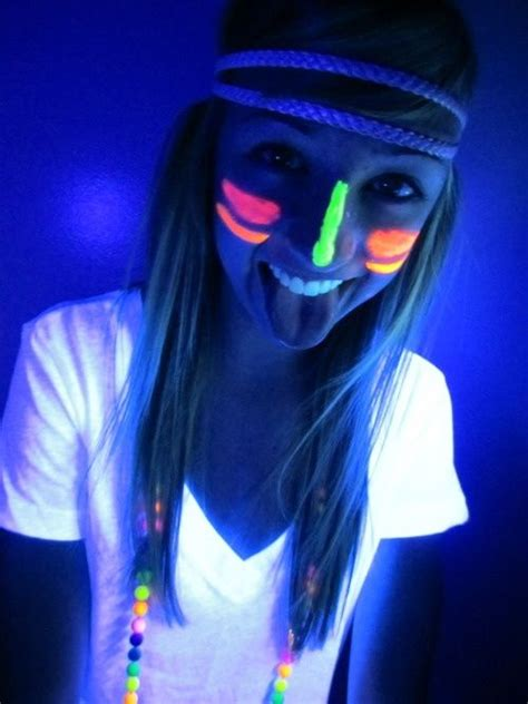 glow in the paint makeup style for neon black light birthday http