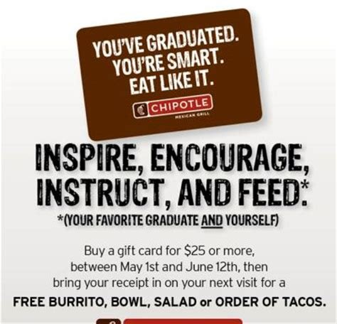 Chipotle Buy 25 Gift Card - chipotle mexican grill buy a gift card 25 for a free burrito bowl salad or order of