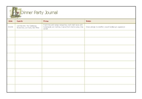 personal journal template dinner journal for microsoft personal access
