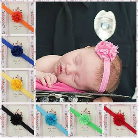 Ribbon Baby Headband new baby elastic hair accessories headbands satin ribbon flower headband silk flower hairband