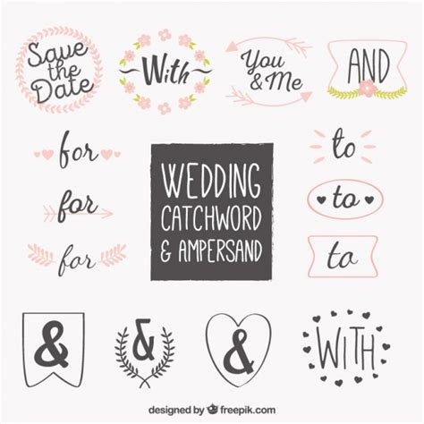 Wedding Word by Wedding Word And Symbol Collection Vector Premium
