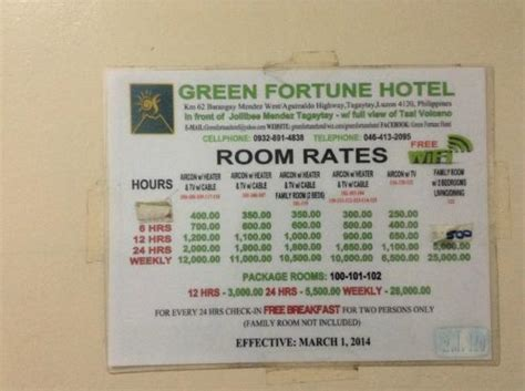 Resort Room Rates by Room Rates Picture Of Green Fortune Hotel Tagaytay