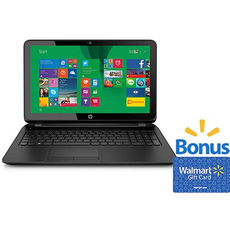 Buy Walmart Gift Card Online Pickup Store - hp black 15 6 quot 15 f023wm touchscreen laptop pc with bonus 30 walmart gift card value